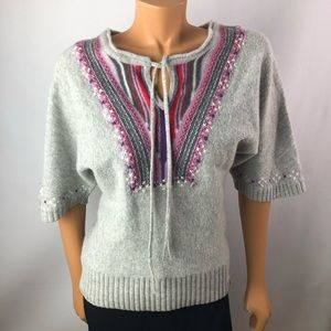 Edc Esprit gray wool cashmere embroidery sweater M